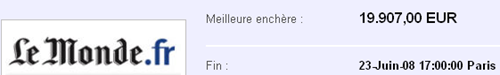 image thumb La Une du Monde.fr à vendre sur eBay France : opération réussie